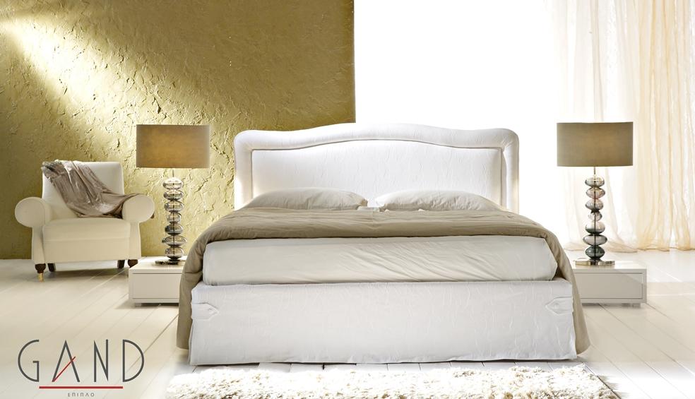 Μοντέρνα Κρεβάτια Matilda με επένδυση σε όλο το κρεβάτι από βαμβακερό ύφασμα
