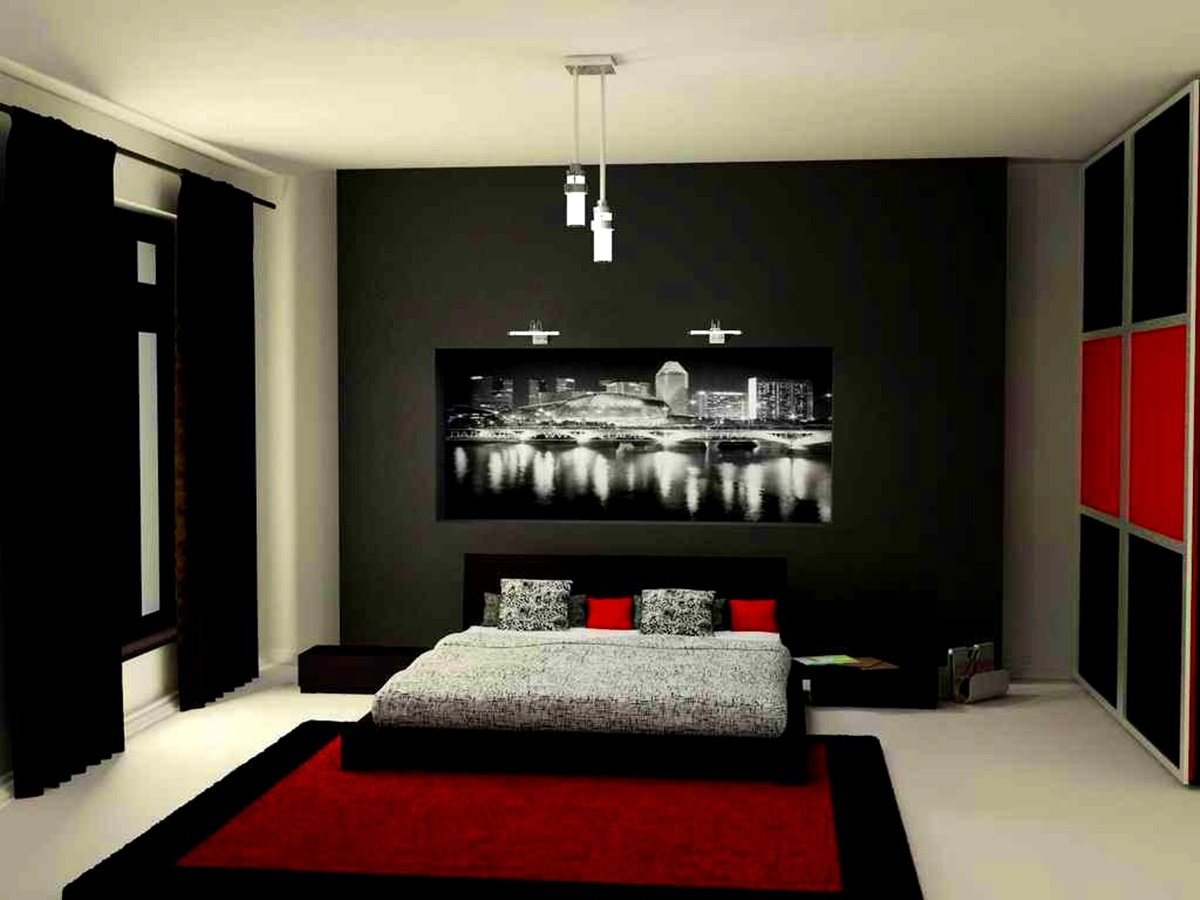 bedroom black red